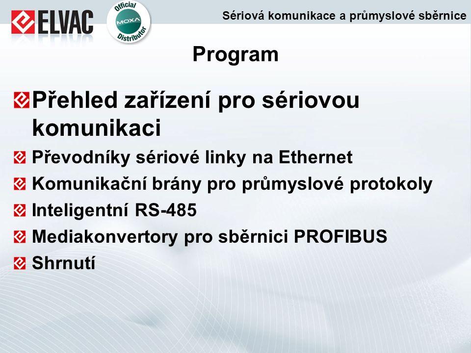 Program Přehled zařízení pro sériovou komunikaci Převodníky sériové linky na Ethernet Komunikační brány pro průmyslové protokoly Inteligentní RS-485 M