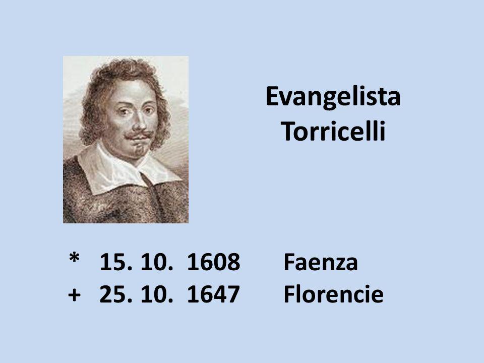Evangelista Torricelli * 15. 10. 1608 Faenza + 25. 10. 1647 Florencie