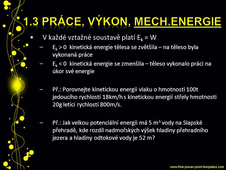 V každé vztažné soustavě platí E k = W –E k > 0 kinetická energie tělesa se zvětšila – na těleso byla vykonaná práce –E k < 0 kinetická energie se zme