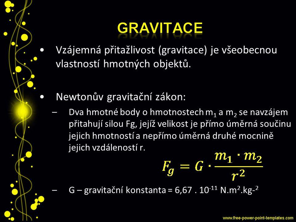 Vzájemná přitažlivost (gravitace) je všeobecnou vlastností hmotných objektů. Newtonův gravitační zákon: –Dva hmotné body o hmotnostech m 1 a m 2 se na