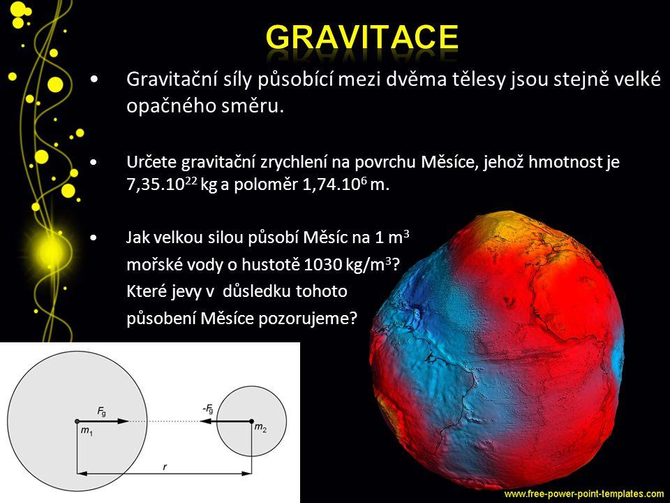 Gravitační síly působící mezi dvěma tělesy jsou stejně velké opačného směru. Určete gravitační zrychlení na povrchu Měsíce, jehož hmotnost je 7,35.10