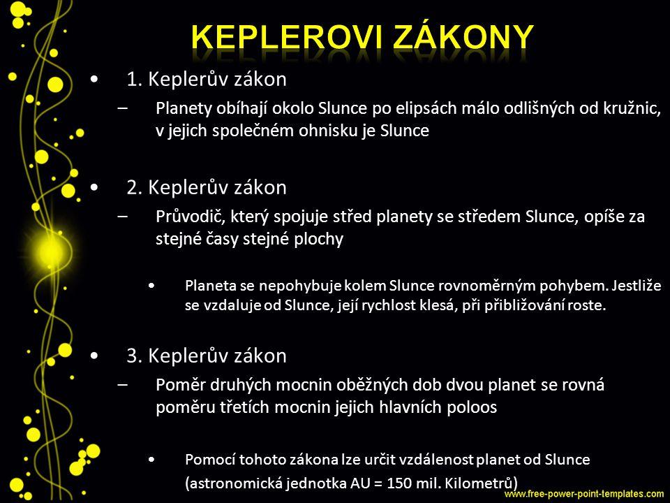 1. Keplerův zákon –Planety obíhají okolo Slunce po elipsách málo odlišných od kružnic, v jejich společném ohnisku je Slunce 2. Keplerův zákon –Průvodi