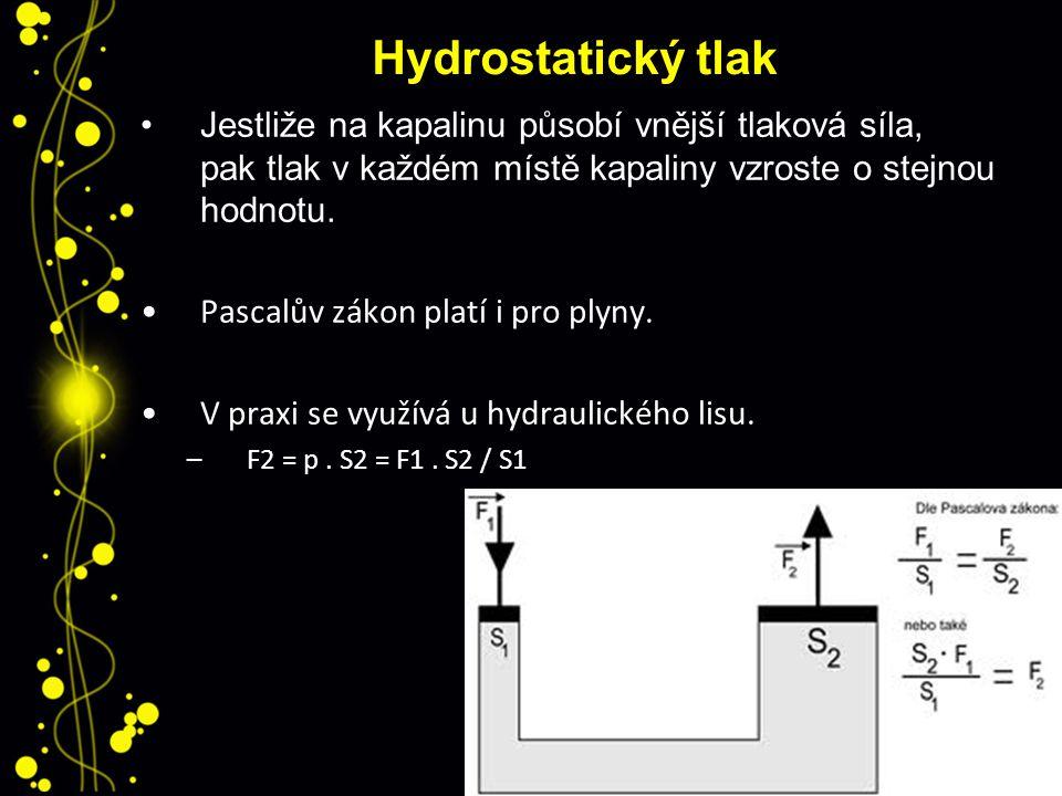 Hydrostatický tlak Jestliže na kapalinu působí vnější tlaková síla, pak tlak v každém místě kapaliny vzroste o stejnou hodnotu. Pascalův zákon platí i