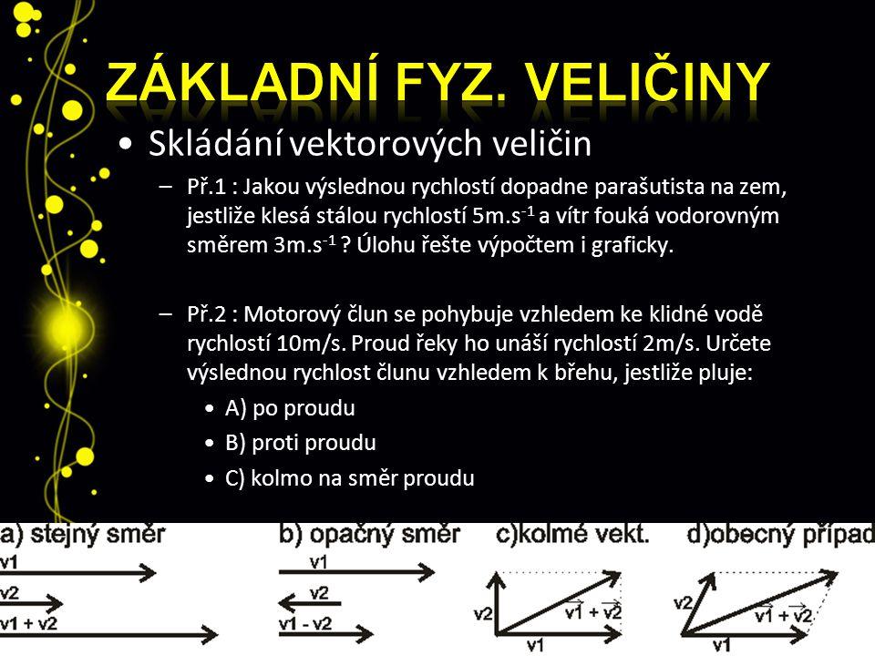Skládání vektorových veličin –Př.1 : Jakou výslednou rychlostí dopadne parašutista na zem, jestliže klesá stálou rychlostí 5m.s -1 a vítr fouká vodoro