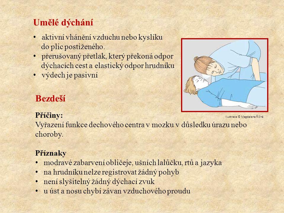 Umělé dýchání provádíme: Bez pomůcek: z úst do úst z úst do nosu z úst do nosu a úst S pomůckami: resuscitační rouška resuscitační maska ruční dýchací přístroj Při bezdeší dojde k zástavě krevního oběhu v důsledku nedostatku kyslíku.
