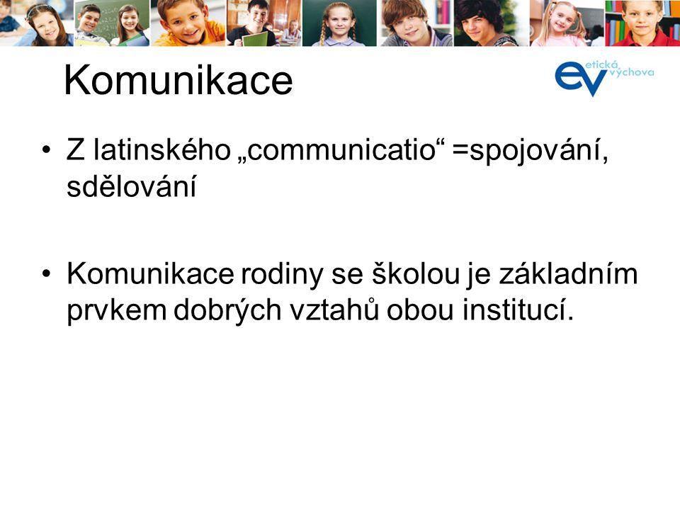 """Z latinského """"communicatio"""" =spojování, sdělování Komunikace rodiny se školou je základním prvkem dobrých vztahů obou institucí. Komunikace"""