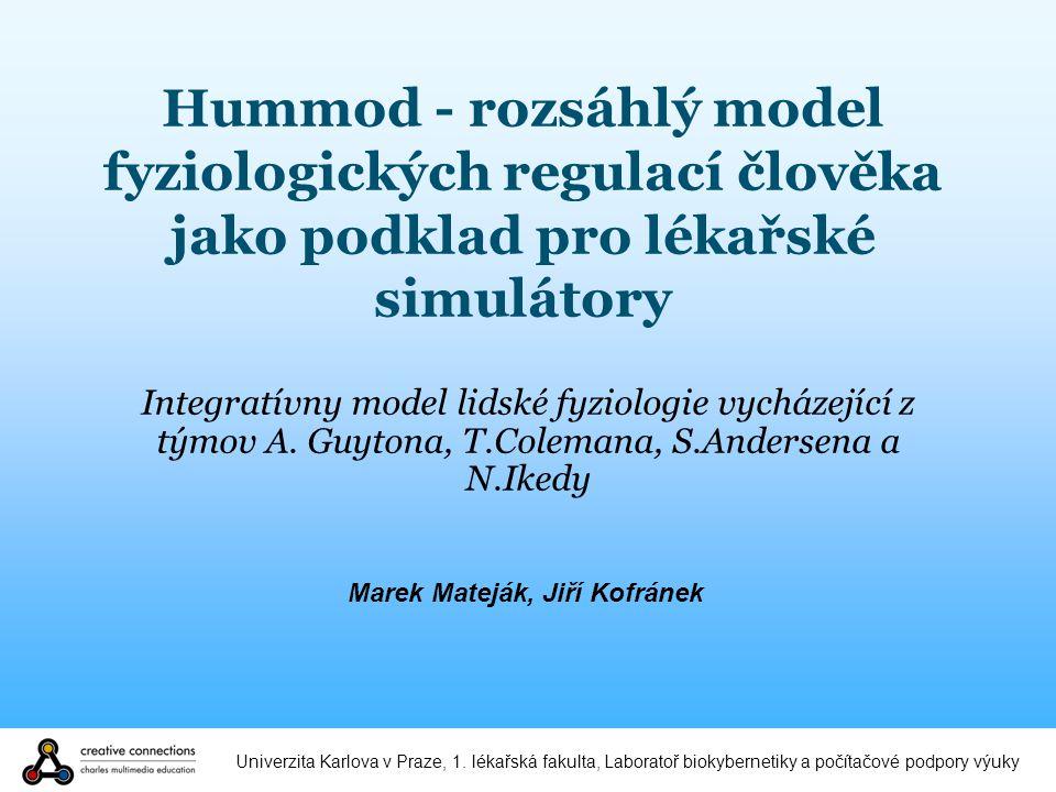 Univerzita Karlova v Praze, 1. lékařská fakulta, Laboratoř biokybernetiky a počítačové podpory výuky Hummod - rozsáhlý model fyziologických regulací č
