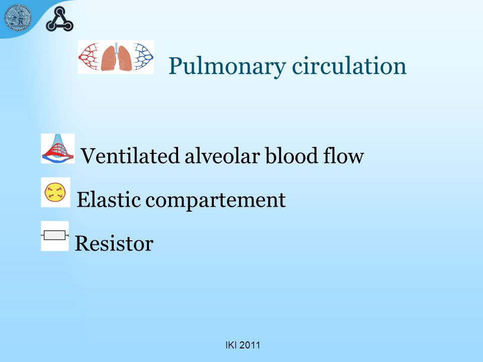 IKI 2011 Pulmonary circulation Ventilated alveolar blood flow Elastic compartement Resistor