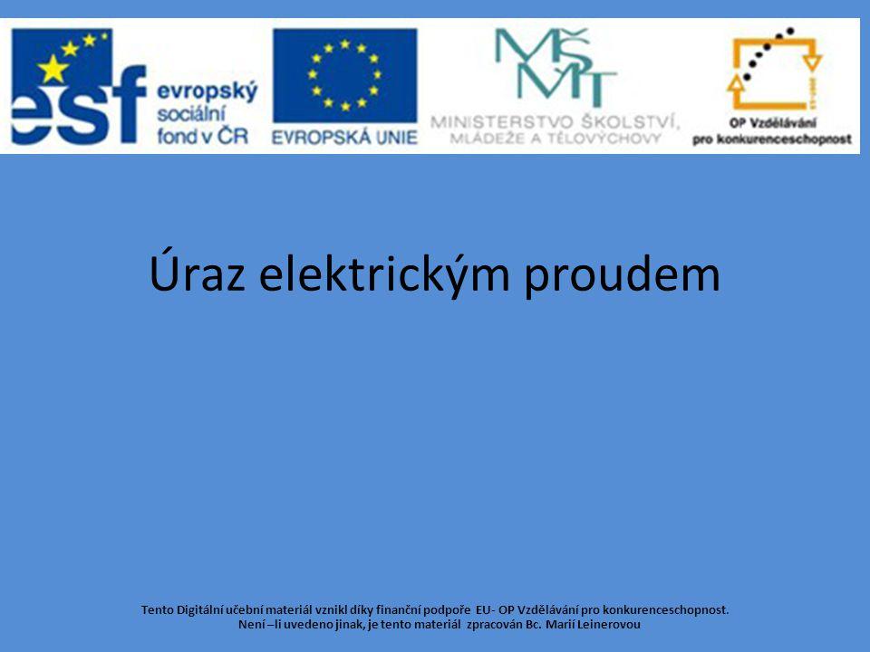 Úraz elektrickým proudem Tento Digitální učební materiál vznikl díky finanční podpoře EU- OP Vzdělávání pro konkurenceschopnost.