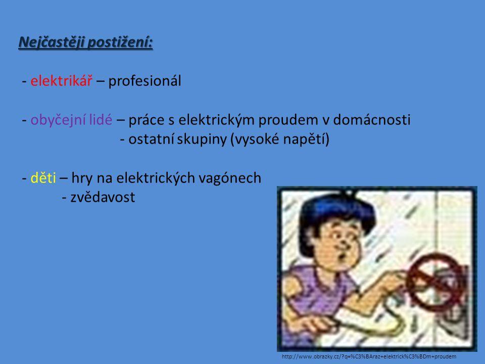 Nejčastěji postižení: - elektrikář – profesionál - obyčejní lidé – práce s elektrickým proudem v domácnosti - ostatní skupiny (vysoké napětí) - děti – hry na elektrických vagónech - zvědavost http://www.obrazky.cz/?q=%C3%BAraz+elektrick%C3%BDm+proudem