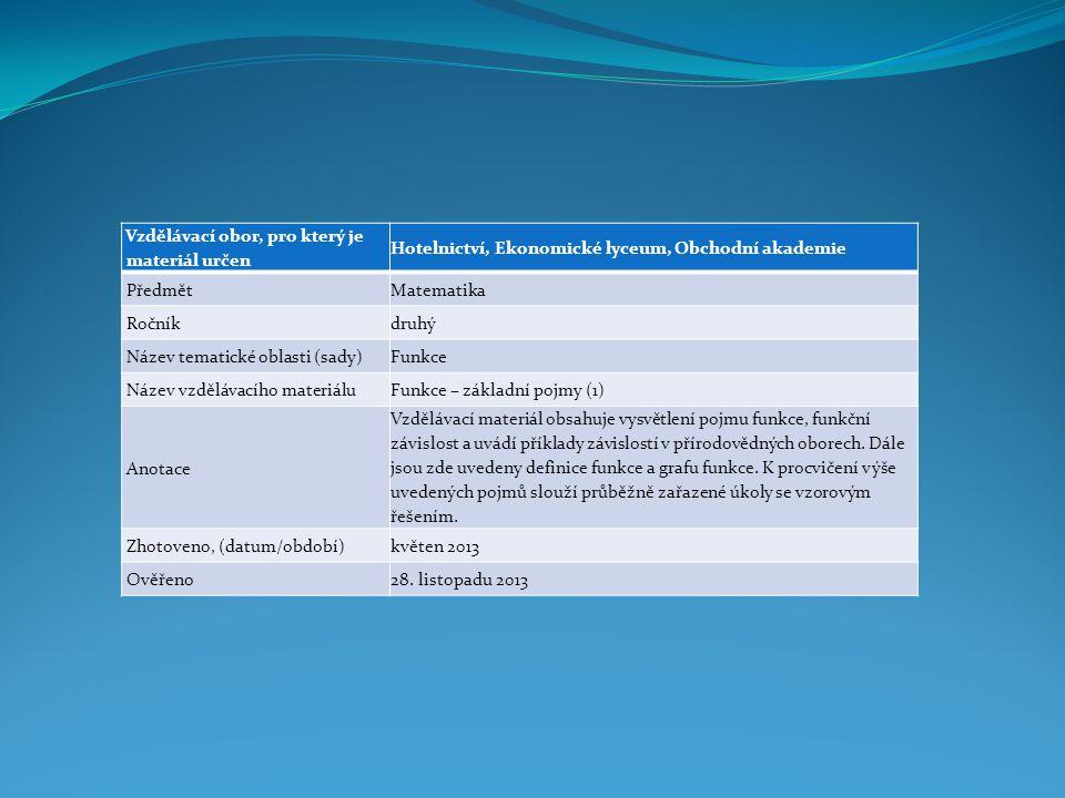 Vzdělávací obor, pro který je materiál určen Hotelnictví, Ekonomické lyceum, Obchodní akademie PředmětMatematika Ročníkdruhý Název tematické oblasti (sady)Funkce Název vzdělávacího materiáluFunkce – základní pojmy (1) Anotace Vzdělávací materiál obsahuje vysvětlení pojmu funkce, funkční závislost a uvádí příklady závislostí v přírodovědných oborech.