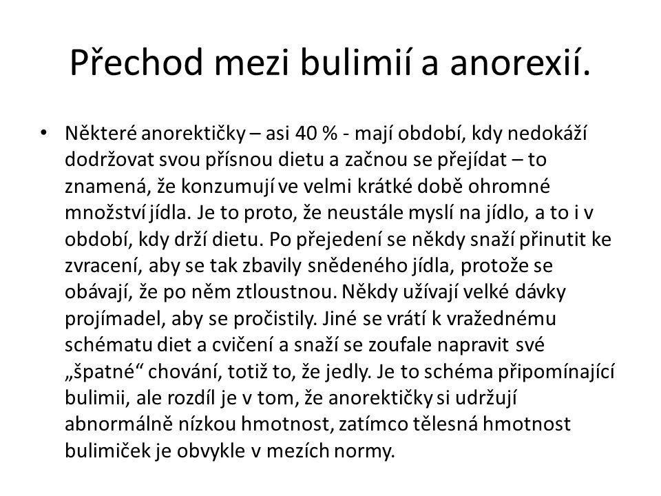 Přechod mezi bulimií a anorexií. Některé anorektičky – asi 40 % - mají období, kdy nedokáží dodržovat svou přísnou dietu a začnou se přejídat – to zna