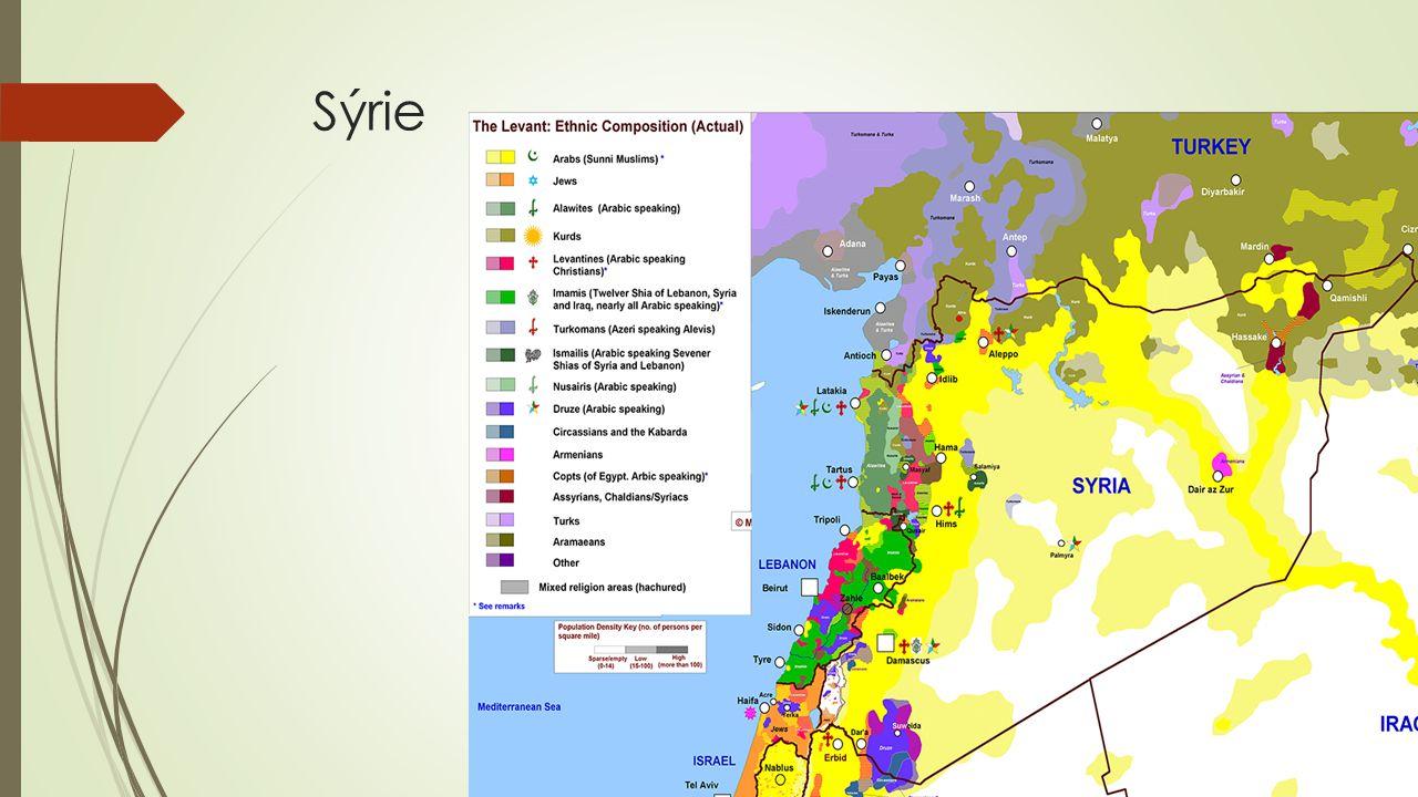 Struktura populace Sýrie  Náboženská struktura (předválečná): Sunnité 74 % Šíité 15 % - Alevité 12 % - Drúzové 3 % Křesťané 10 % - Maronité - Pravoslavní - Protestanté - Katolíci  Etnická struktura (předválečná): Syrští Arabové 77 % - včetně Křesťanů - uprchlíci z Palestiny a Iráku Kurdové 9 % Aramejci 8 % Asyřané 2 % Arméni 0,5 %