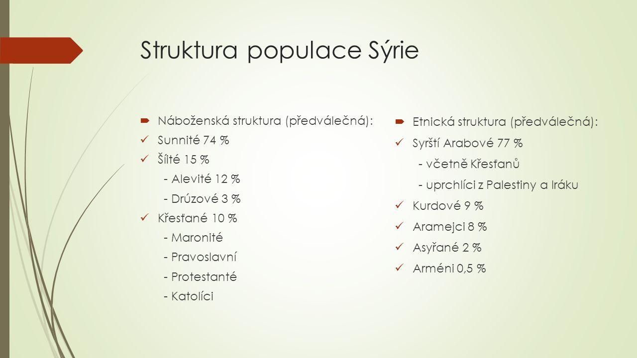 Charakteristika populace Sýrie  Výrazný demografický růst u všech národnostních a religiózních skupin  Výrazná etnická, religiózní, konfesní a klanová heterogenita  Výrazné územní promíchání všech skupin, avšak vnitřní uzavřenost (etnické vesnice, čtvrti)  Výrazná sociální diferenciace jednotlivých skupin – politická a ekonomická elita Alavité, sociálně silní urbanizovaní křesťané, nejchudší - sunité Vývoj populace (v tis.) RokPoč.obyv±% p.a.