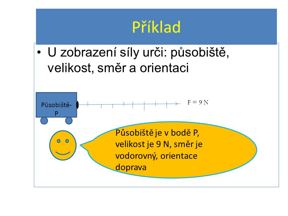U zobrazení síly urči: působiště, velikost, směr a orientaci Příklad Působiště- P F = 9 N Působiště je v bodě P, velikost je 9 N, směr je vodorovný, o