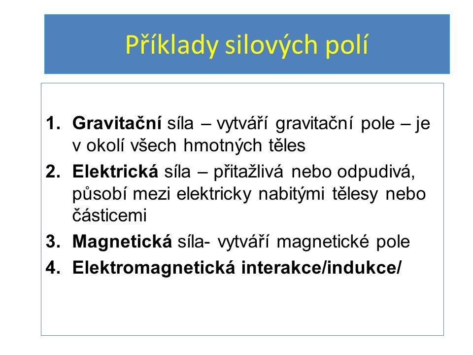 Příklady silových polí 1.Gravitační síla – vytváří gravitační pole – je v okolí všech hmotných těles 2.Elektrická síla – přitažlivá nebo odpudivá, půs
