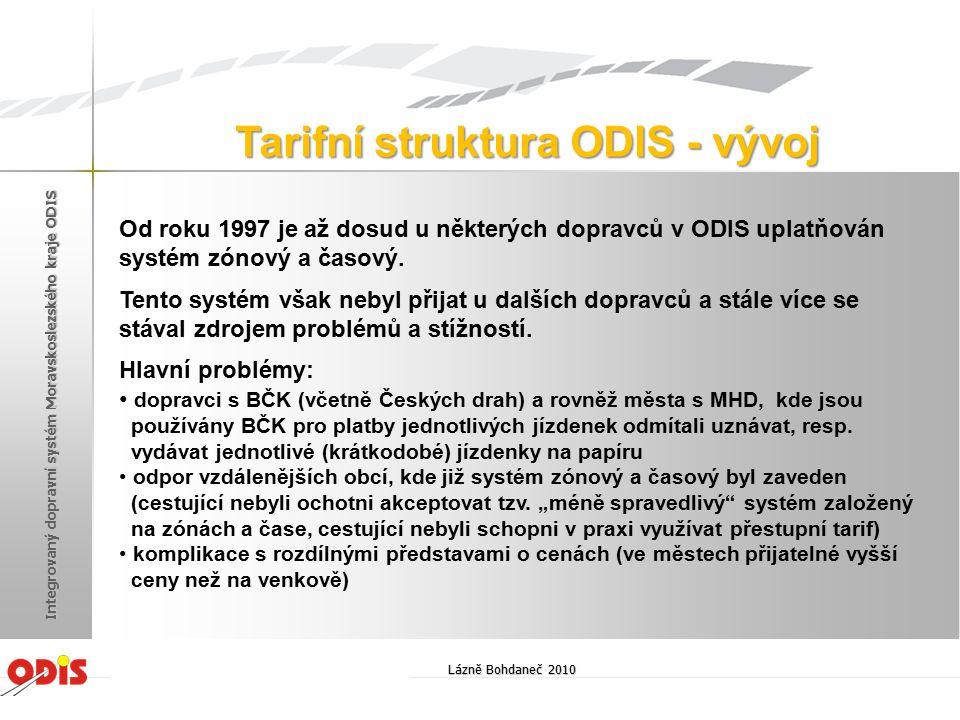 V průběhu posledních cca dvou let byly vydefinovány nové požadavky na strukturu jednotlivých (krátkodobých) jízdenek pro Tarif ODIS.