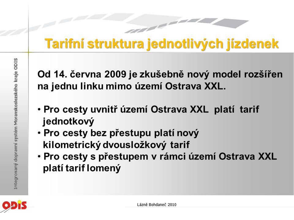 Od 14. června 2009 je zkušebně nový model rozšířen na jednu linku mimo území Ostrava XXL. Pro cesty uvnitř území Ostrava XXL platí tarif jednotkový Pr