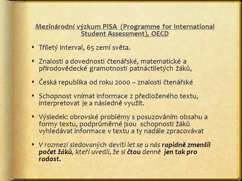 Mezinárodní výzkum PISA (Programme for International Student Assessment), OECD  Tříletý interval, 65 zemí světa.  Znalosti a dovednosti čtenářské, m