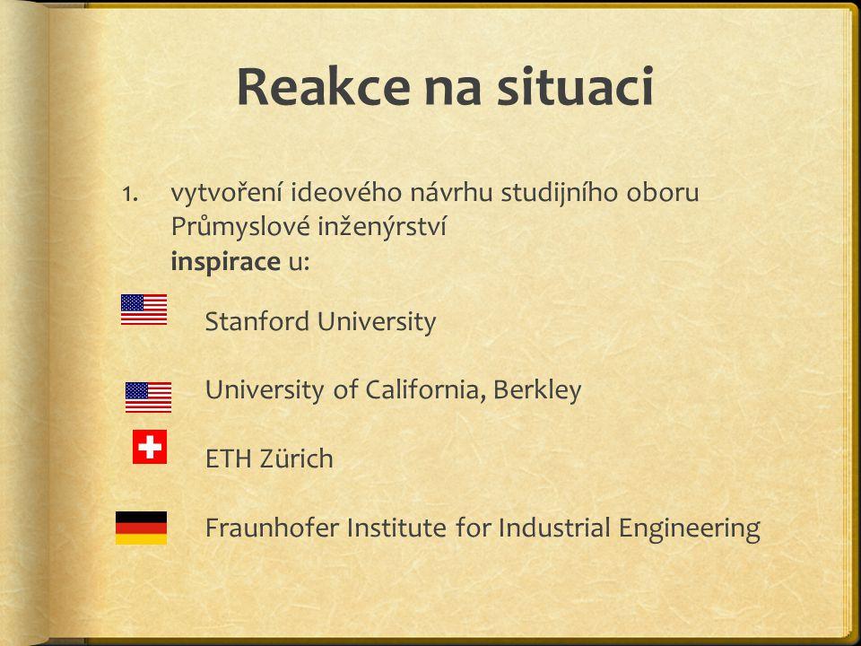 Reakce na situaci 1.vytvoření ideového návrhu studijního oboru Průmyslové inženýrství inspirace u: Stanford University University of California, Berkl
