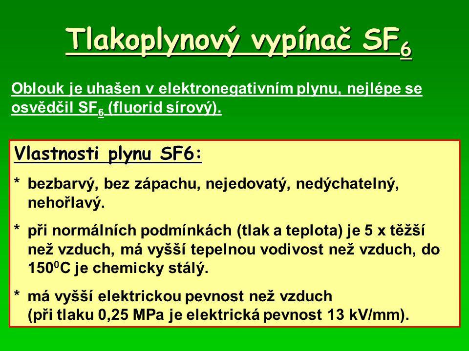 Tlakoplynový vypínač SF 6 Oblouk je uhašen v elektronegativním plynu, nejlépe se osvědčil SF 6 (fluorid sírový). Vlastnosti plynu SF6: *bezbarvý, bez