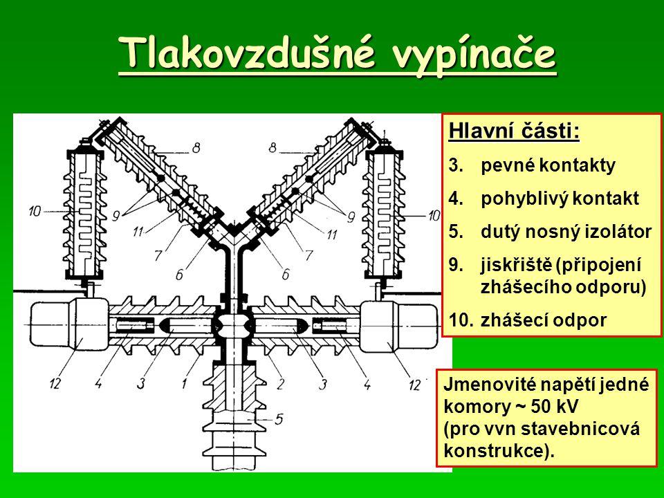 Tlakovzdušné vypínače Hlavní části: 3.pevné kontakty 4.pohyblivý kontakt 5.dutý nosný izolátor 9.jiskřiště (připojení zhášecího odporu) 10.zhášecí odpor Jmenovité napětí jedné komory ~ 50 kV (pro vvn stavebnicová konstrukce).