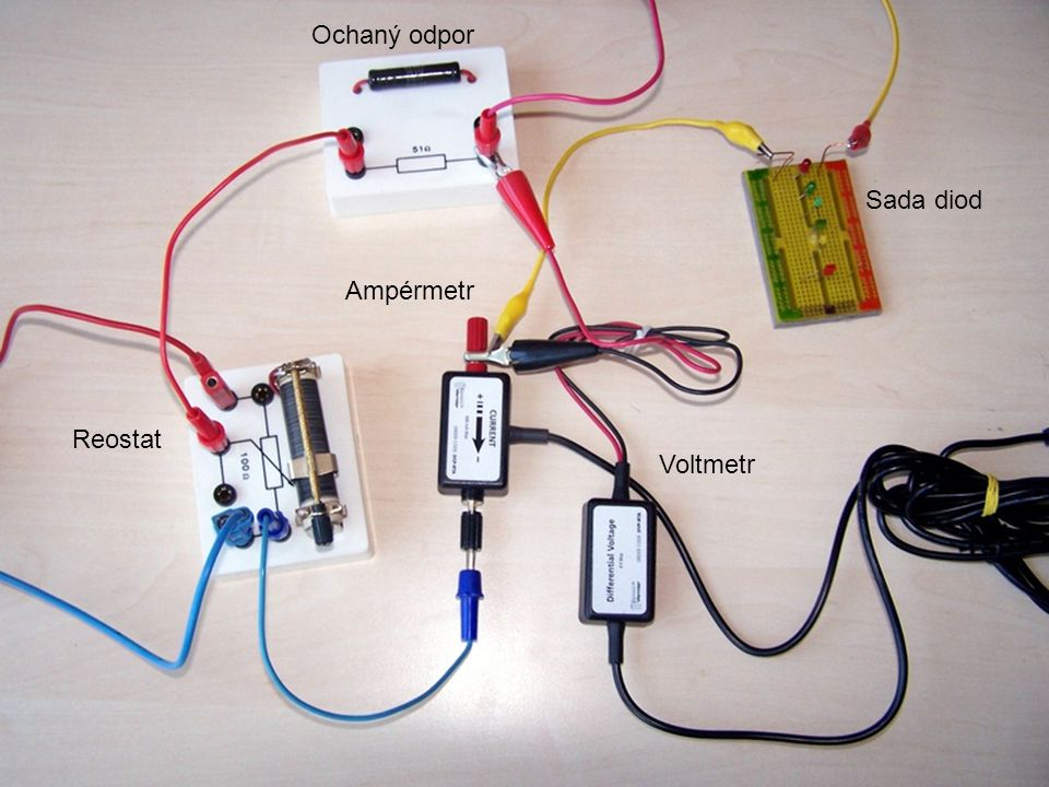 Sada diod Voltmetr Ampérmetr Reostat Ochaný odpor