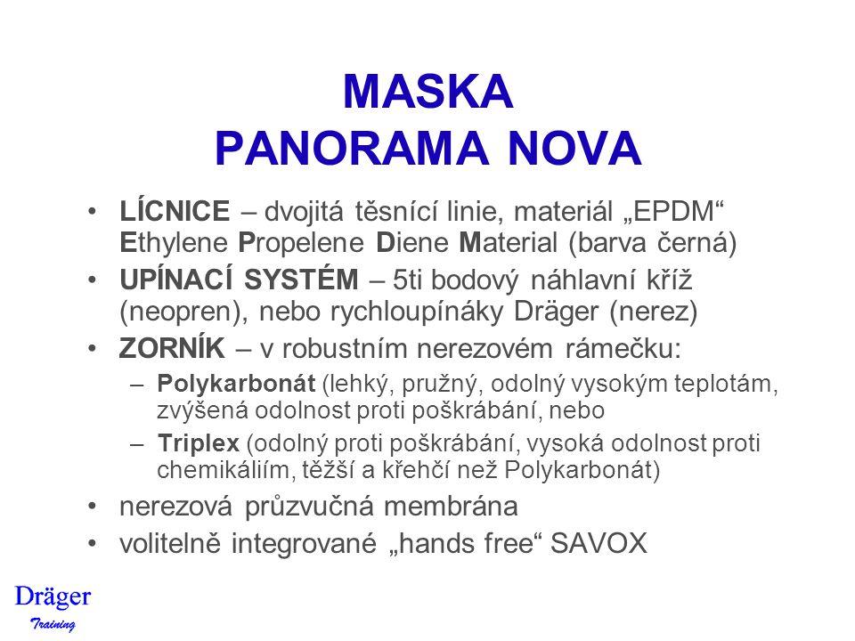 """MASKA PANORAMA NOVA LÍCNICE – dvojitá těsnící linie, materiál """"EPDM"""" Ethylene Propelene Diene Material (barva černá) UPÍNACÍ SYSTÉM – 5ti bodový náhla"""