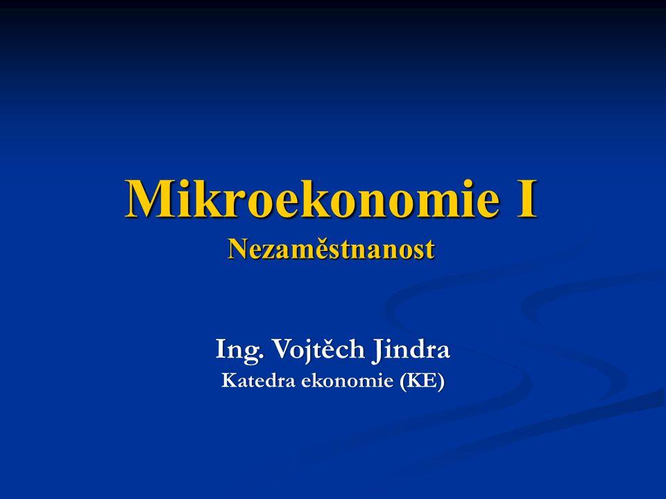 Mikroekonomie I Nezaměstnanost Ing. Vojtěch JindraIng. Vojtěch Jindra Katedra ekonomie (KE)Katedra ekonomie (KE)