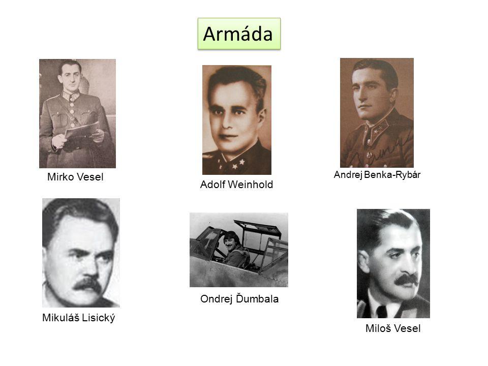 Armáda Andrej Benka-Rybár Ondrej Ďumbala Mikuláš Lisický Mirko Vesel Miloš Vesel Adolf Weinhold