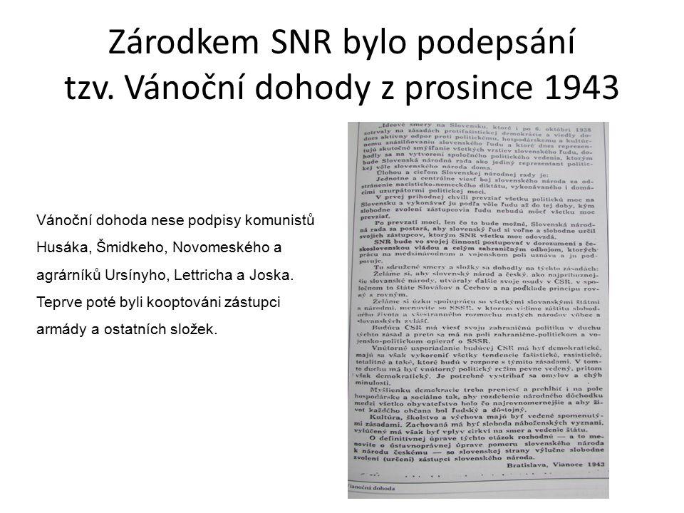 Zárodkem SNR bylo podepsání tzv.