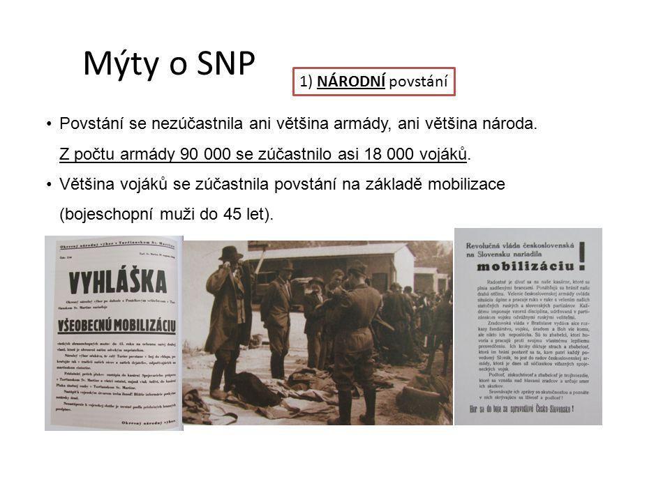 Mýty o SNP 1) NÁRODNÍ povstání Povstání se nezúčastnila ani většina armády, ani většina národa.