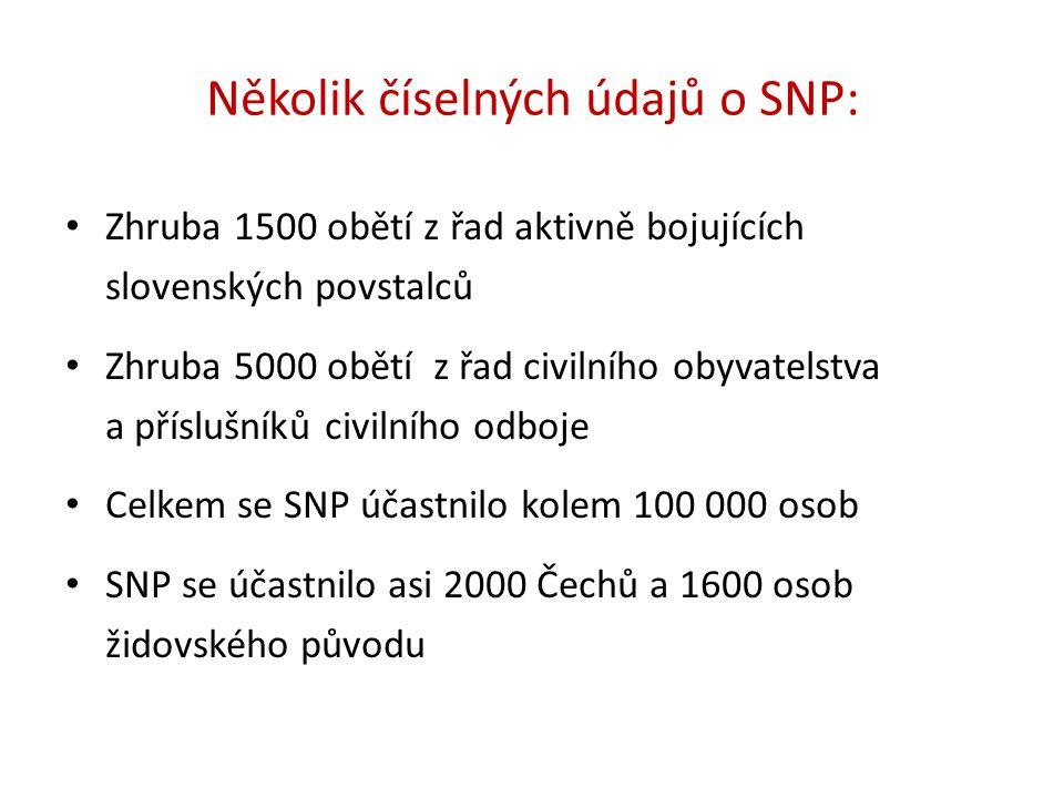 Několik číselných údajů o SNP: Zhruba 1500 obětí z řad aktivně bojujících slovenských povstalců Zhruba 5000 obětí z řad civilního obyvatelstva a příslušníků civilního odboje Celkem se SNP účastnilo kolem 100 000 osob SNP se účastnilo asi 2000 Čechů a 1600 osob židovského původu