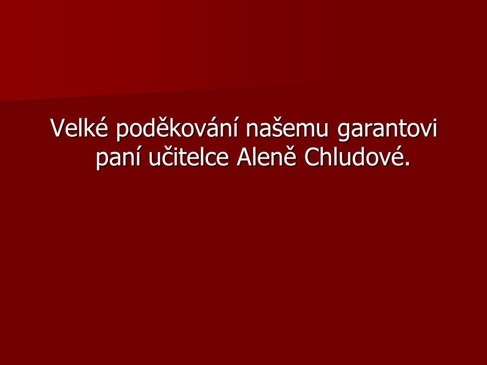 Velké poděkování našemu garantovi paní učitelce Aleně Chludové.