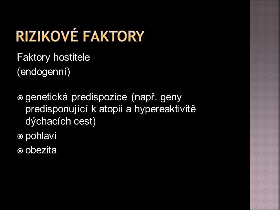 Faktory hostitele (endogenní)  genetická predispozice (např. geny predisponující k atopii a hypereaktivitě dýchacích cest)  pohlaví  obezita