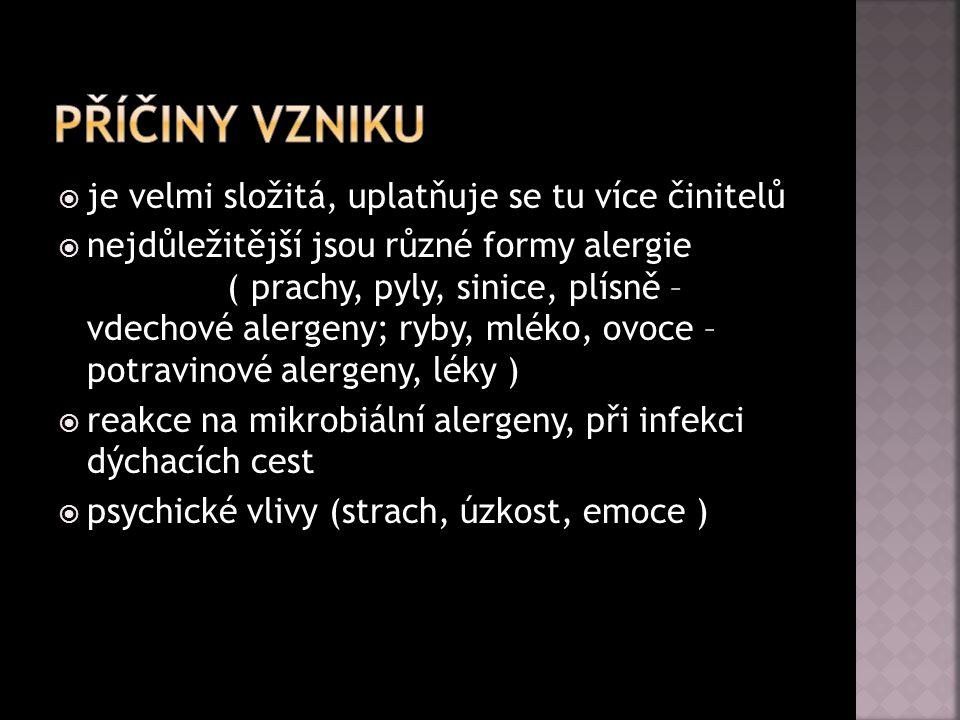  je velmi složitá, uplatňuje se tu více činitelů  nejdůležitější jsou různé formy alergie ( prachy, pyly, sinice, plísně – vdechové alergeny; ryby,