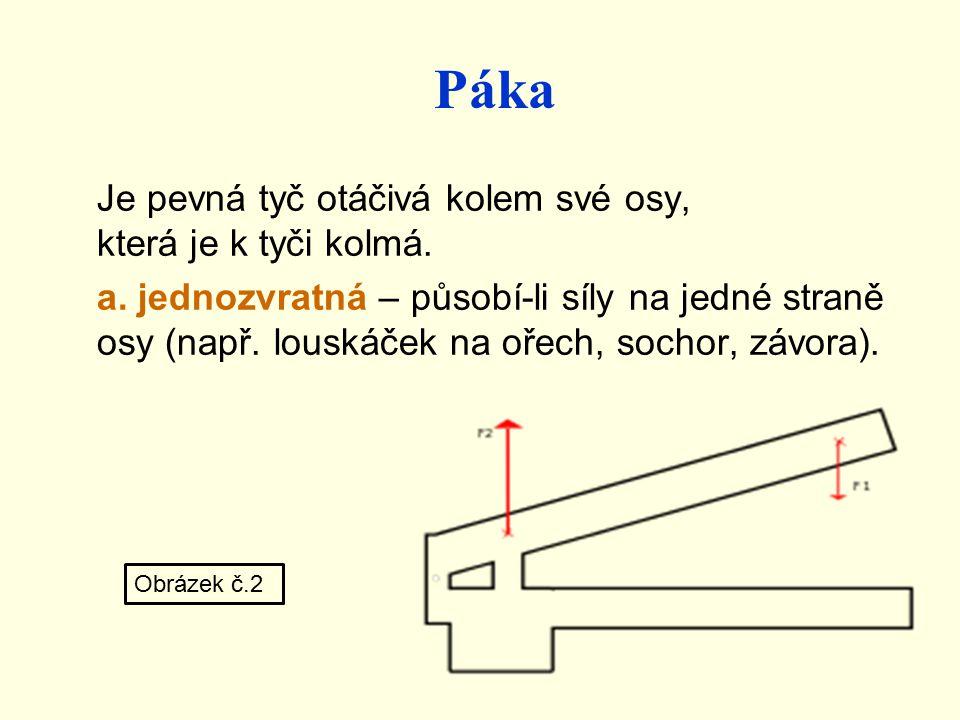 Páka Je pevná tyč otáčivá kolem své osy, která je k tyči kolmá. a. jednozvratná – působí-li síly na jedné straně osy (např. louskáček na ořech, sochor
