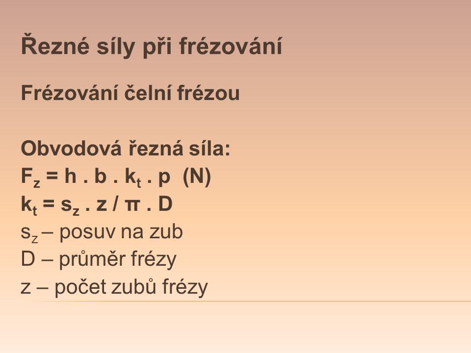 Řezné síly při frézování Frézování čelní frézou Obvodová řezná síla: F z = h. b. k t. p (N) k t = s z. z / π. D s z – posuv na zub D – průměr frézy z