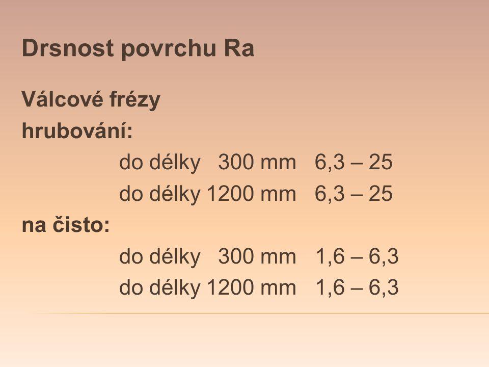 Drsnost povrchu Ra Válcové frézy hrubování: do délky 300 mm6,3 – 25 do délky 1200 mm6,3 – 25 na čisto: do délky 300 mm1,6 – 6,3 do délky 1200 mm1,6 –