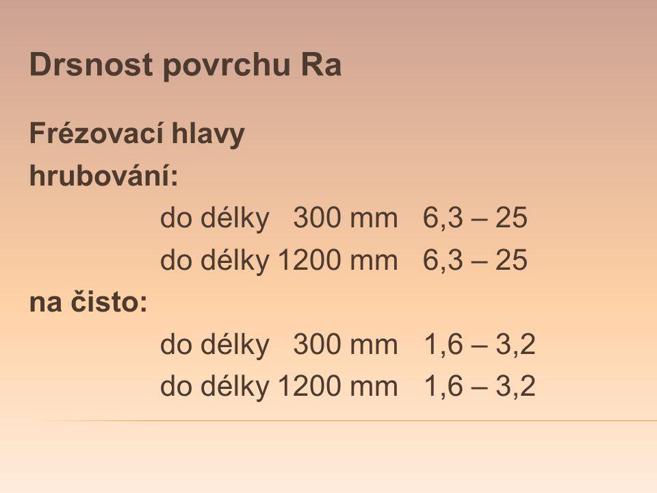 Drsnost povrchu Ra Frézovací hlavy hrubování: do délky 300 mm6,3 – 25 do délky 1200 mm6,3 – 25 na čisto: do délky 300 mm1,6 – 3,2 do délky 1200 mm1,6