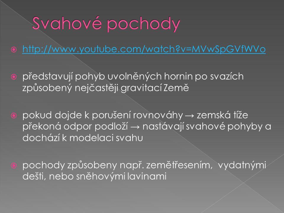  http://www.youtube.com/watch?v=MVwSpGVfWVo http://www.youtube.com/watch?v=MVwSpGVfWVo  představují pohyb uvolněných hornin po svazích způsobený nej