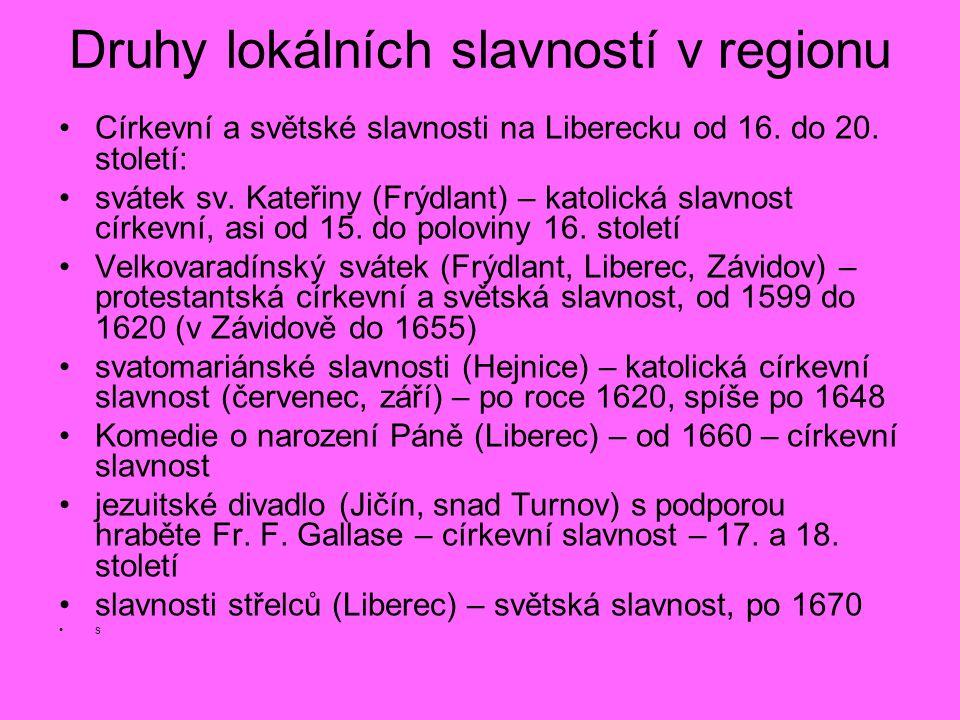 Druhy lokálních slavností v regionu Církevní a světské slavnosti na Liberecku od 16. do 20. století: svátek sv. Kateřiny (Frýdlant) – katolická slavno