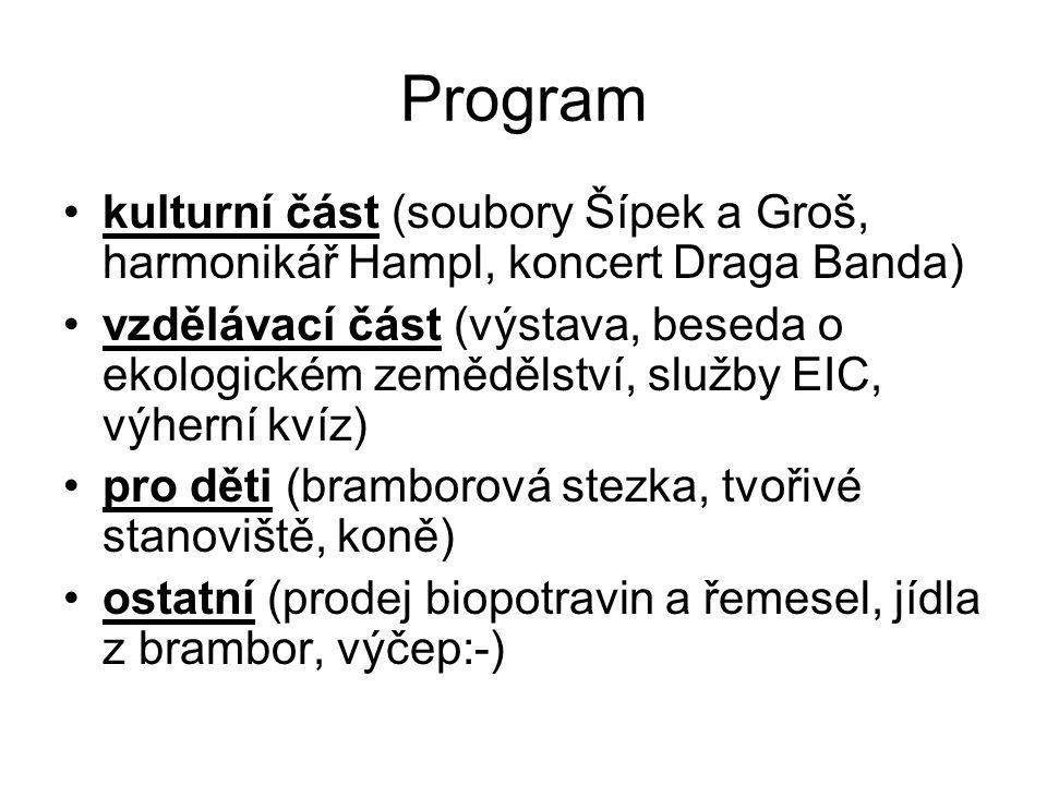 Program kulturní část (soubory Šípek a Groš, harmonikář Hampl, koncert Draga Banda) vzdělávací část (výstava, beseda o ekologickém zemědělství, služby EIC, výherní kvíz) pro děti (bramborová stezka, tvořivé stanoviště, koně) ostatní (prodej biopotravin a řemesel, jídla z brambor, výčep:-)