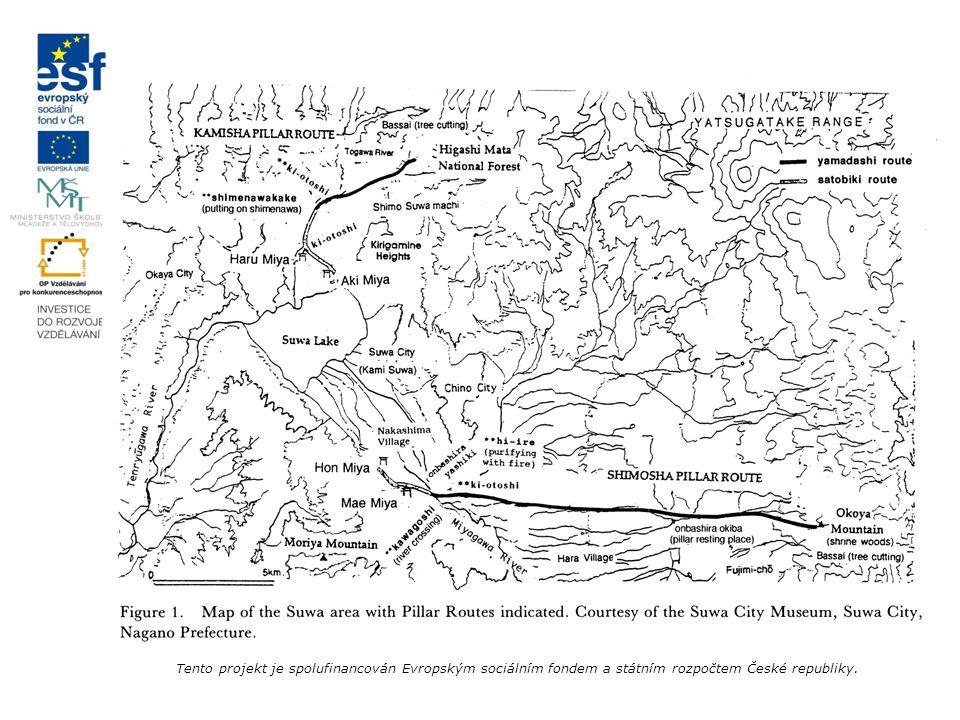 Slavnost kmenů stromů onbaširasai 御柱祭 určování kmenů losování výroba lan na tahání kmenů očista posvátných nástrojů na tahání kmenů rituál porážení stromů svážení kmenů z hor shazování kmenů překročení řeky, aneb umývání božstva označení kmenů uvolnění starých kmenů tahání kmenů přes obec slavnost zdvižení kmenů ořezání kmenů udusávání země kolem kmenů rituál přemístění božstva Tento projekt je spolufinancován Evropským sociálním fondem a státním rozpočtem České republiky.