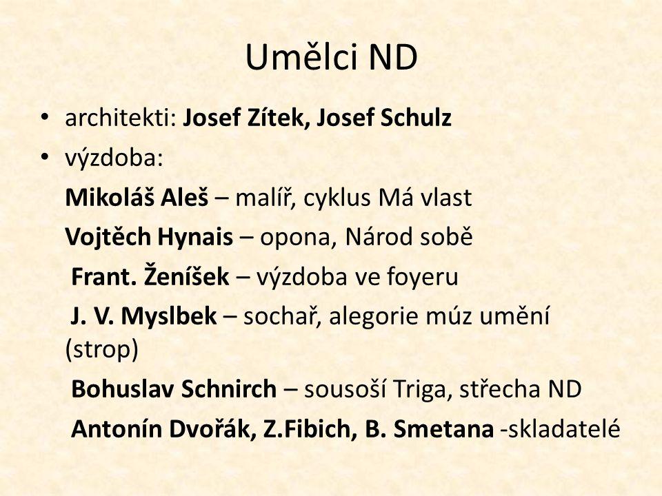 Umělci ND architekti: Josef Zítek, Josef Schulz výzdoba: Mikoláš Aleš – malíř, cyklus Má vlast Vojtěch Hynais – opona, Národ sobě Frant.
