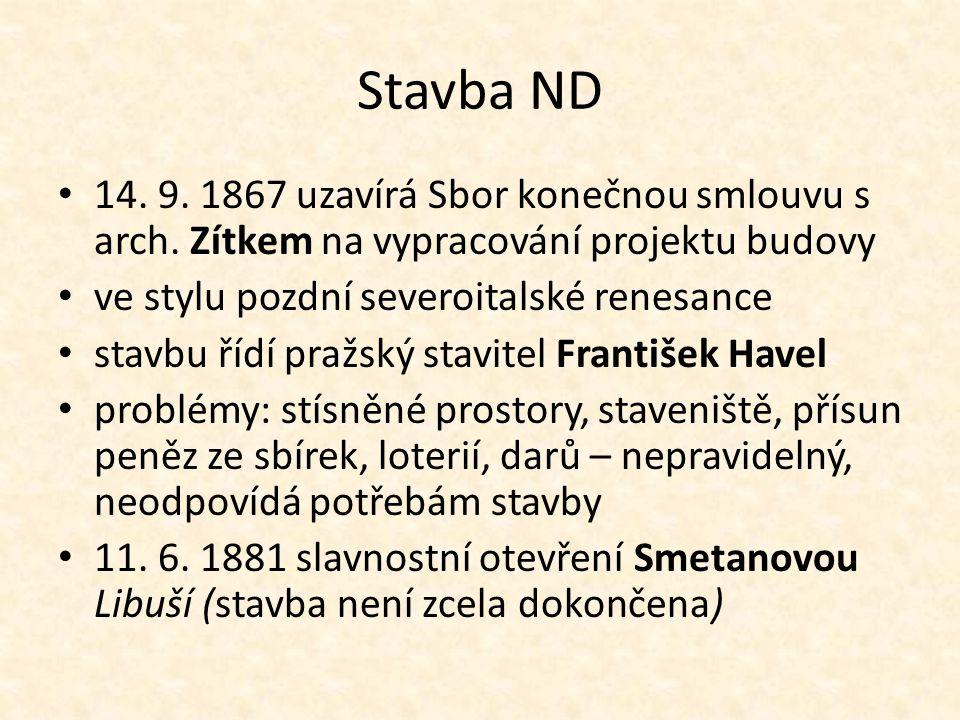 Stavba ND 14. 9. 1867 uzavírá Sbor konečnou smlouvu s arch.