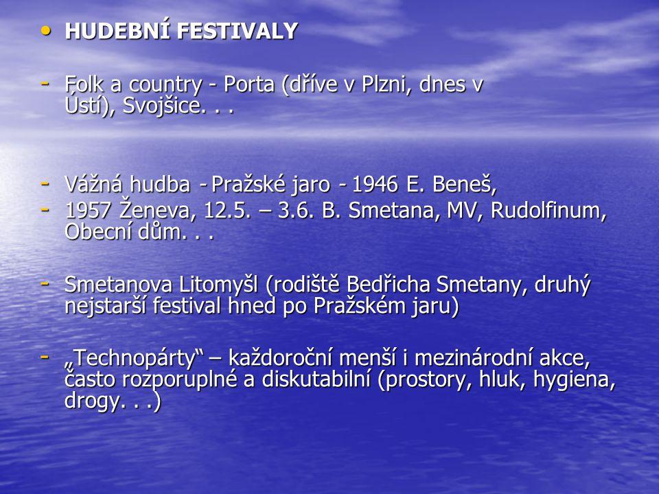 HUDEBNÍ FESTIVALY HUDEBNÍ FESTIVALY - Folk a country - Porta (dříve v Plzni, dnes v Ústí), Svojšice...