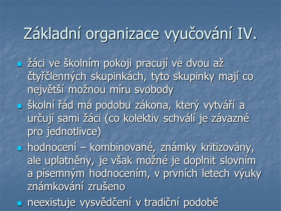 Základní organizace vyučování IV.