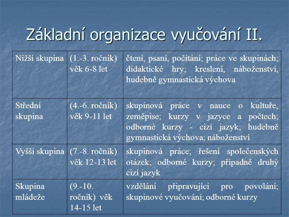 Základní organizace vyučování III.