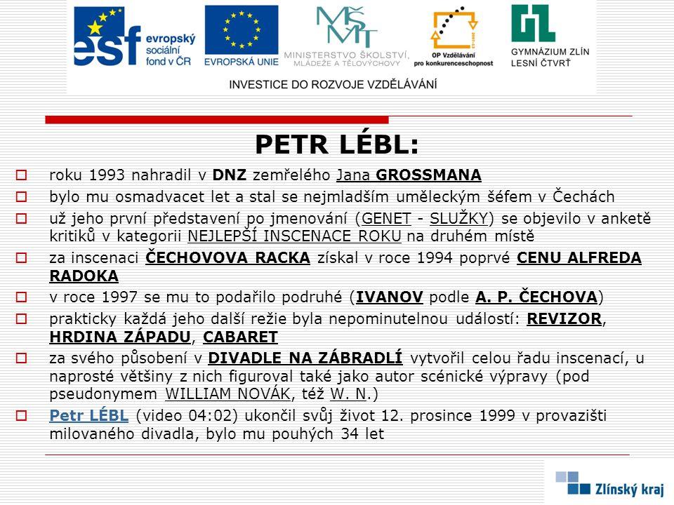 PETR LÉBL:  roku 1993 nahradil v DNZ zemřelého Jana GROSSMANA  bylo mu osmadvacet let a stal se nejmladším uměleckým šéfem v Čechách  už jeho první